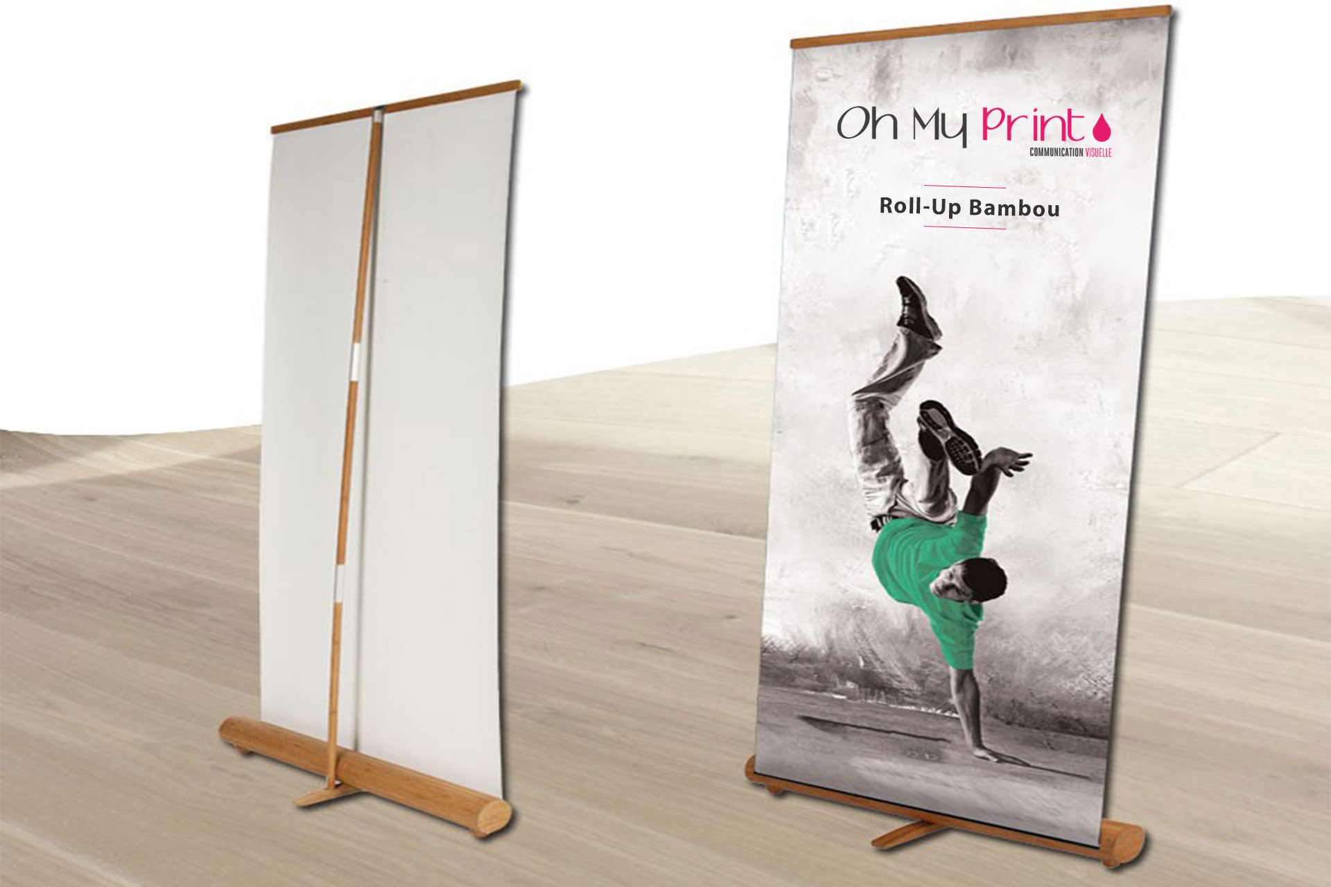 Stand-rollup-bambou-ohmyprint